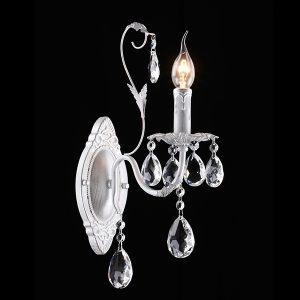 Бра с хрусталем 10050/1 белый с серебром