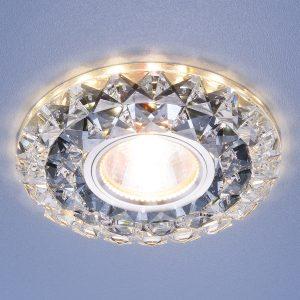 Встраиваемый потолочный светильник со светодиодной подсветкой Elektrostandard 2170 MR16 SBK CL дымчатый прозрачный