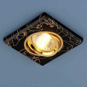 Квадратный точечный светильник Elektrostandard 2080 MR16 BK/GD черный/золото