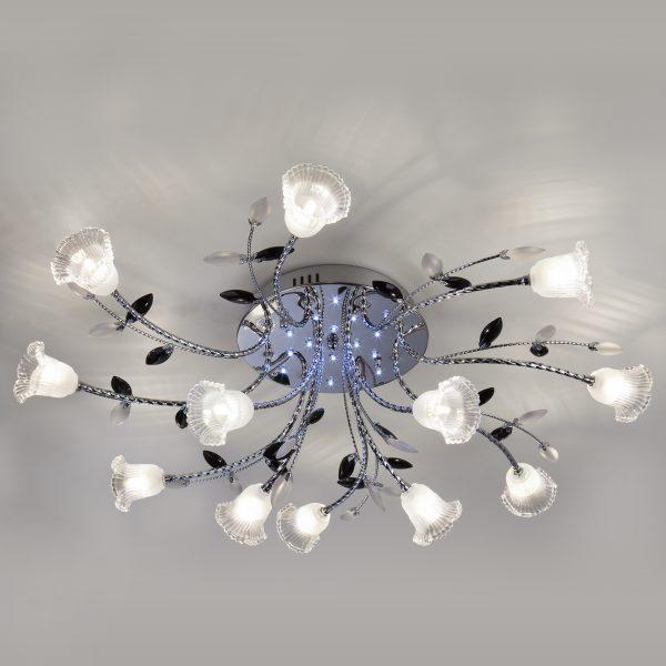 Люстра потолочная со светодиодной подсветкой 80114/12 хром/белый
