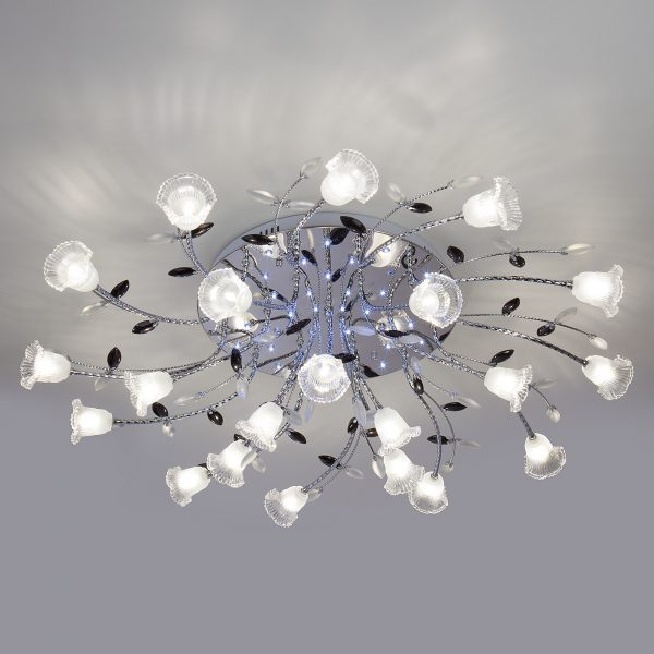 Люстра потолочная со светодиодной подсветкой 80114/21 хром/белый