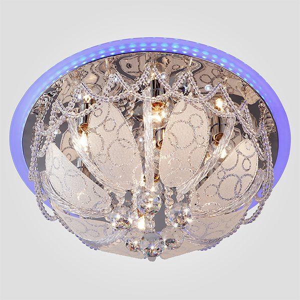Люстра потолочная с хрусталем 80100/8 хром/голубой