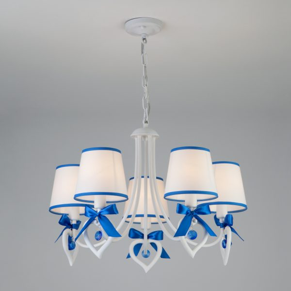 Подвесная люстра с абажурами 60066/5 белый/синий