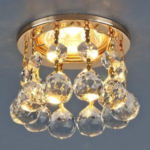 Светильник точечный с хрусталем Elektrostandard 2051-C FGD/Clear (золото / прозр. хрусталь)
