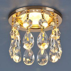 Светильник точечный с хрусталем Elektrostandard 2055 GD/WH (золото/прозрачный)