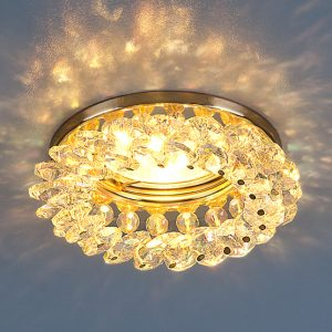 Светильник точечный с хрусталем Elektrostandard 206 MR16 GD/Color золото/перламутр