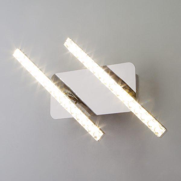 Светодиодный настенный светильник с хрусталем 90041/2 хром