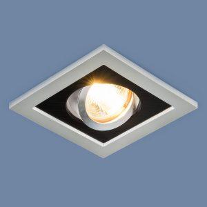 Точечный светильник с поворотным механизмом Elektrostandard 1031/1 MR16 SL/BK серебро/черный