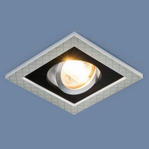 Точечный светильник с поворотным механизмом Elektrostandard 1041/1 MR16 SL/BK серебро/черный