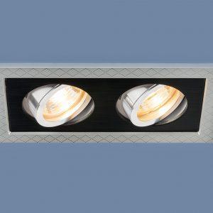 Точечный светильник с поворотным механизмом Elektrostandard 1041/2 MR16 SL/BK серебро/черный
