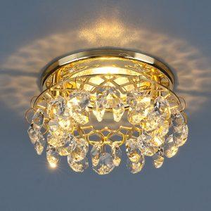 Точечный светильник с хрусталем Elektrostandard 7070 MR16 GD/СL золото/прозрачный