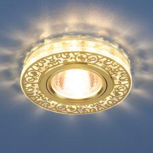Точечный светодиодный светильник с хрусталем Elektrostandard 6034 MR16 GD/CL золото/прозрачный