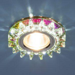 Точечный светодиодный светильник с хрусталем Elektrostandard 6037 MR16 MLT мульти/хром