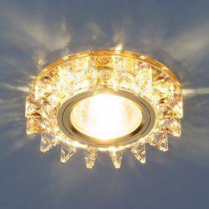 Точечный светодиодный светильник с хрусталем Elektrostandard 6037 MR16 YL/GD зеркальный/золото